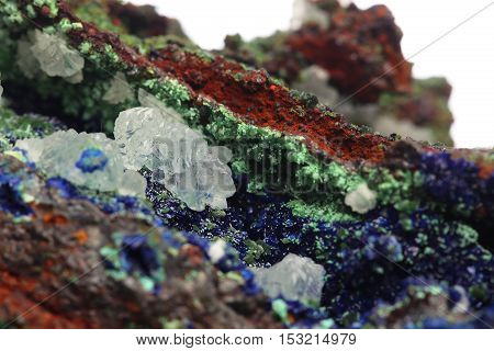 Azurite Mineral specimen stone. The nature geology