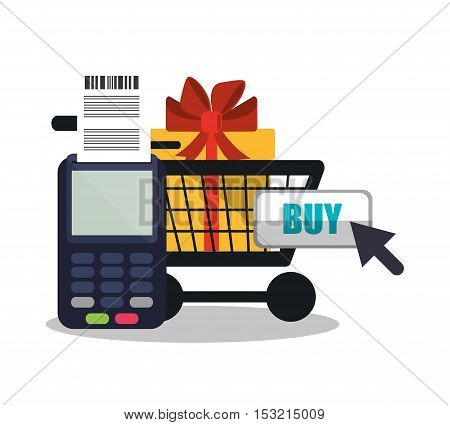 Dataphone gift and cart icon. Shopping online ecommerce media and market theme. Colorful design. Vector illustration