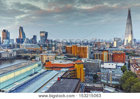 Amazing Twilight skyline of city of London and Thames river, England, Great Britain
