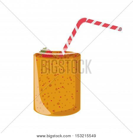smoothie drink on mason jar with straw and strawberry decorations over white background. vector illustration