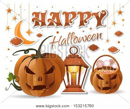 Halloween design with Halloween basket with sweets, jack-o'-lantern, burning candle, lamp, moon, stars and inscription - Happy Halloween. Vector illustration isolated on white background