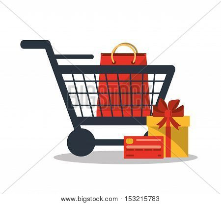Gift bag and cart icon. Shopping online ecommerce media and market theme. Colorful design. Vector illustration
