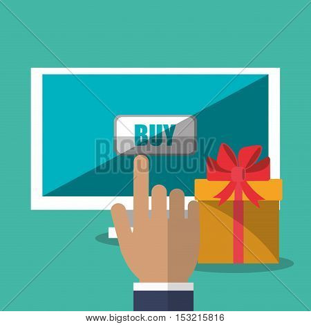 Computer and gift icon. Shopping online ecommerce media and market theme. Colorful design. Vector illustration
