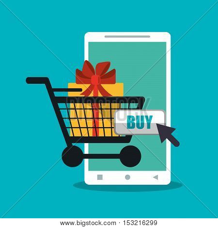 Smartphone cart and gift  icon. Shopping online ecommerce media and market theme. Colorful design. Vector illustration
