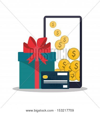 Smartphone gift and credit card icon. Shopping online ecommerce media and market theme. Colorful design. Vector illustration