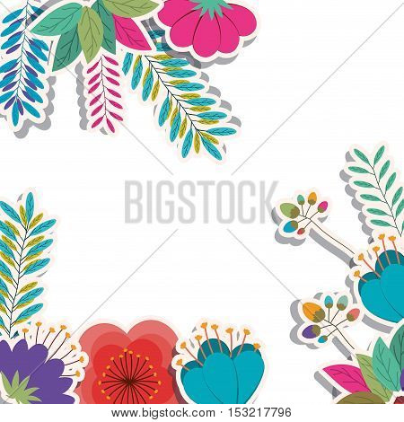 tropical colorful flowers and leaves background. vector illustration