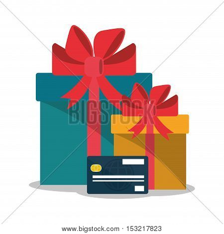 Gift and credit card icon. Shopping online ecommerce media and market theme. Colorful design. Vector illustration