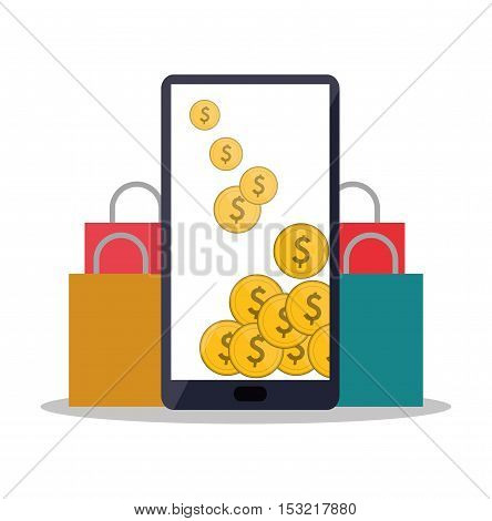 Smartphone coins and bag icon. Shopping online ecommerce media and market theme. Colorful design. Vector illustration