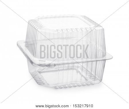 Closed transparent plastic food packaging box isolated on white