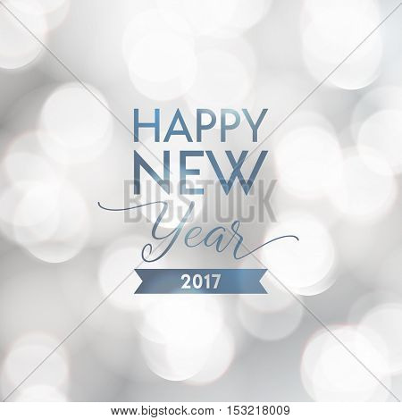 Happy New Year 2017 greeting card. Typographic vector design, beautiful white bokeh background.