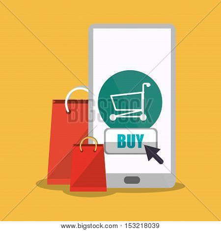 Smartphone cart and bag icon. Shopping online ecommerce media and market theme. Colorful design. Vector illustration