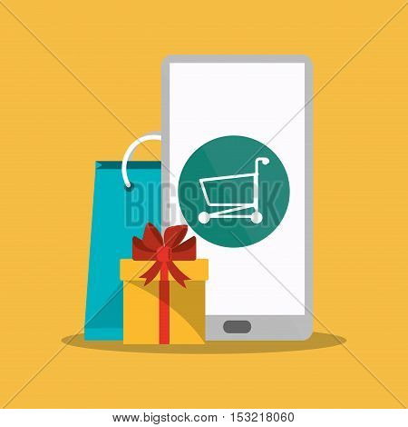 Smartphone gift cart and bag icon. Shopping online ecommerce media and market theme. Colorful design. Vector illustration
