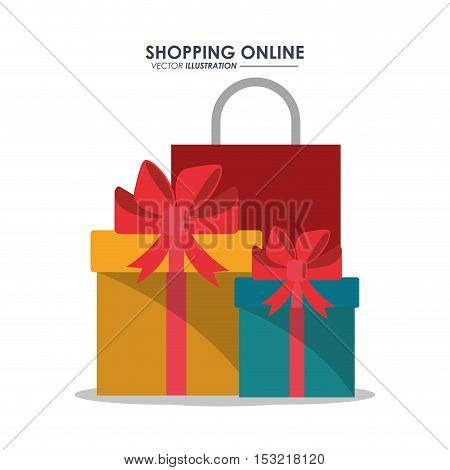 gift and bag icon. Shopping online ecommerce media and market theme. Colorful design. Vector illustration