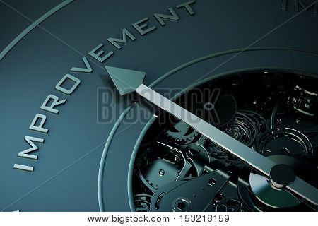 3D Rendering of Compass arrow pointing to the word improvement