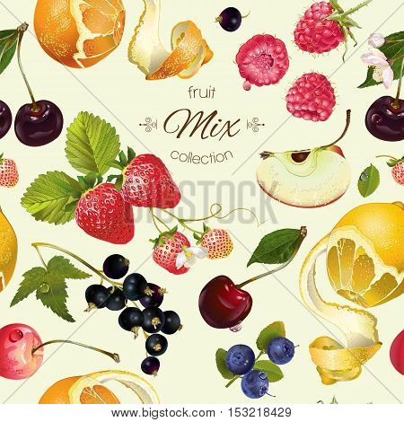 Vector fruit and berry seamless pattern. Background design for juice, tea, ice cream, natural cosmetics, sweets, pastries filled with fruit, dessert menu, health care products. Best for wrapping paper