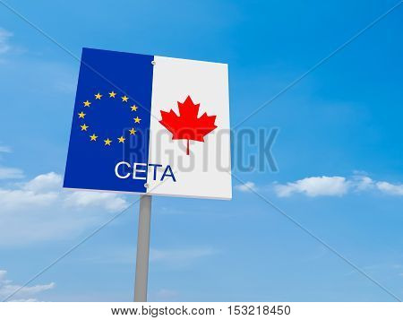 CETA: Canada And EU Flag Road Sign Against A Cloudy Sky 3d illustration