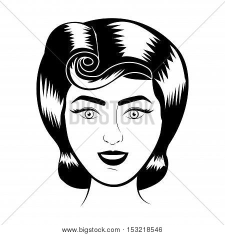 retro woman face smiling with classic hairstyle over white background. vector illustration