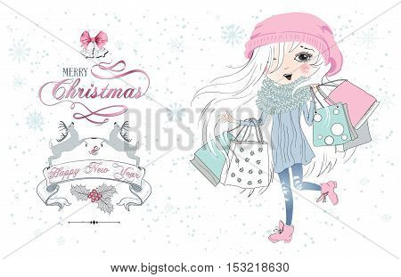 Vector Christmas greeting card with pretty little girl. Child with beautiful white hair holding shopping bags on winter background. Merry christmas banner with deers and bells.