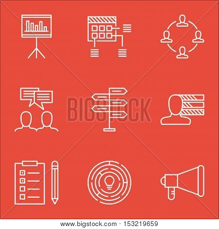 Set Of Project Management Icons On Discussion, Reminder And Schedule Topics. Editable Vector Illustr