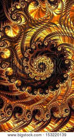 Abstract lacy spiral - computer-generated image. Fractal geometry: repetitive swirls and spirals form a bizarre voluminous ornament. Vertical composition. For desktop wallpaper, prints, web design