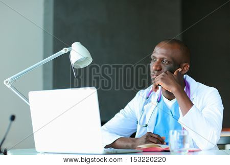 African american doctor in modern office