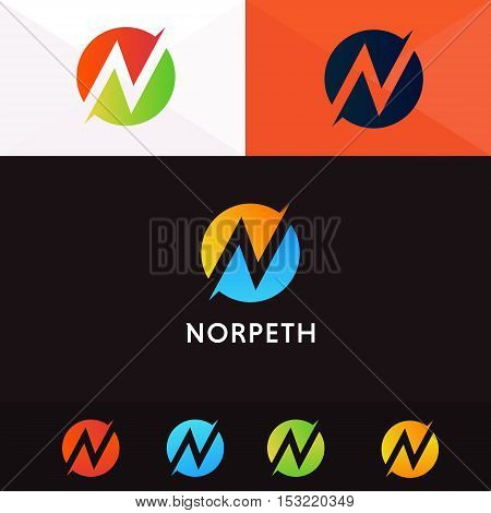 N letter logo company sign vector design