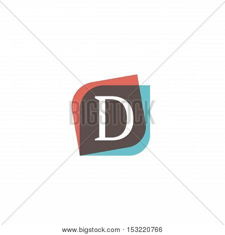 D letter retro sign company symbol vector design