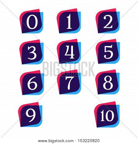 Abstract numbers signs icon logotypes vector design