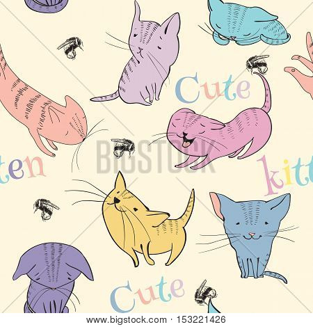Vector sketch style cute little kittens seamless pattern. Doodle funny characters isolated on white background. Best for T-shirts print.