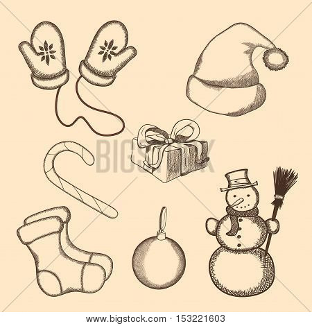Hand drawn winter, New Year and Christmas symbols set. Gloves, cap, candy, present box, pair of socks, decoration ball and snowman.