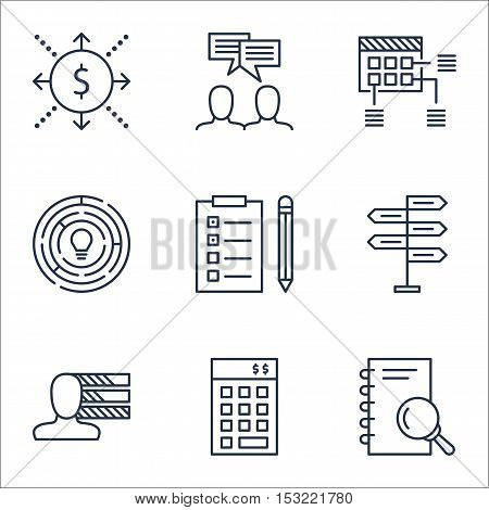 Set Of Project Management Icons On Opportunity, Analysis And Reminder Topics. Editable Vector Illust