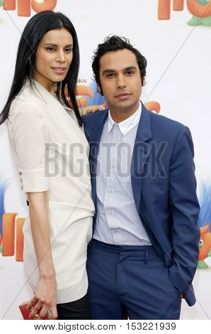 Kunal Nayyar and Neha Kapur at the Los Angeles premiere of 'Trolls' held at the Regency Village Theatre in Westwood, USA on October 23, 2016.