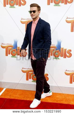 Justin Timberlake at the Los Angeles premiere of 'Trolls' held at the Regency Village Theatre in Westwood, USA on October 23, 2016.