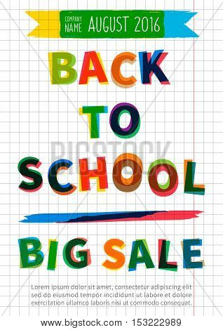 Back to school Big Sale vector banner. Advertising template Big Sale for school college university. Flyer graphic design. Promotion poster layout Back to School with special offer Big Sale.