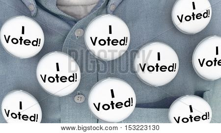 I Voted Buttons Pins Shirt Election Voter Politics Democracy 3d Illustration
