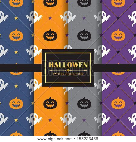 Halloween pattern set. Set of 4 different colour of halloween background. vector illustration. Ghost & jack o lantern / pumpkin.