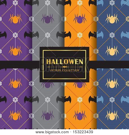 Halloween pattern set. Set of 4 different colour of halloween background. vector illustration. Bat & spider.