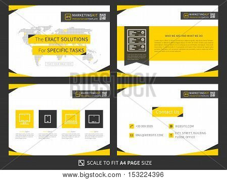 Corporate presentation vector template. Modern business presentation graphic yellow and black design. Minimalistic layout with infographic front page content page products and contact info. Easy to use edit and print.