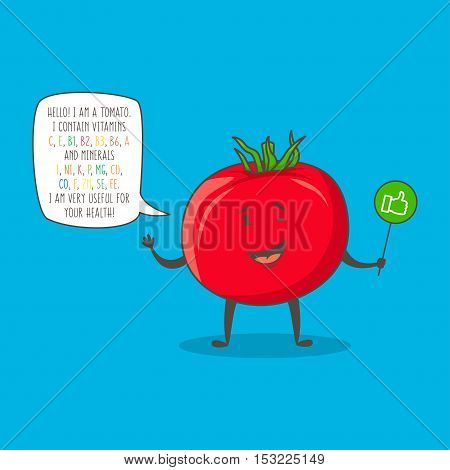Tomato cartoon character vector illustration. Organic vegetable with text about vitamins and minerals graphic design. Healthy natural food for your health creative concept. Cartoon tomato for kids education.