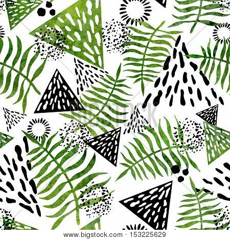 Seamless Abstract Pattern with Watercolor Green Ferns and Black Triangles