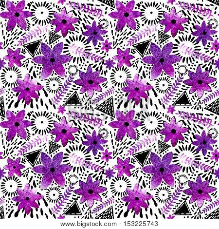 Watercolor Bright Purple Flowers and Black Triangles Seamless Pattern
