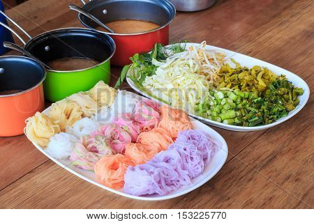 Colorful Of Thai Vermicelli Eaten With Curry Selective Focus