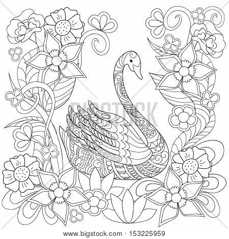 Hand drawn decorated swan and flowers in ethnic style isolated on white. Image for adult and children antistress coloring book page tattoo decorate dishes cups porcelains t-shirts dresses bags tunics. EPS 10.