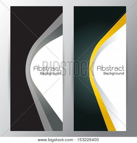 Orange vector illustration background curve red and silver line on dark spa on gray background