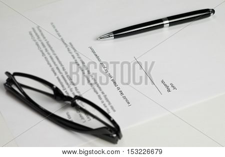 A Letter Of Resignation On A Office Desk