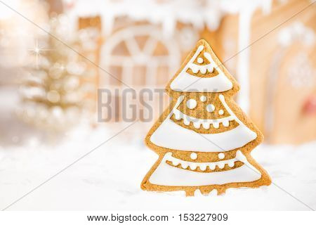 Decorated Gingerbread Christmas tree cookie with out of focus background