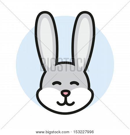 Rabbit head icon, logo or sign. Cute bunny. Vector Illustrtion.
