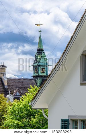 View of historic Zurich city center  on a cloudy day in summer, Canton of Zurich, Switzerland.