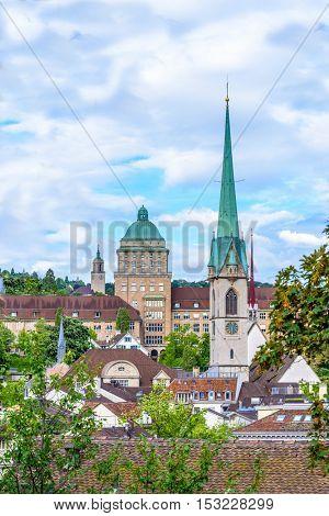 View of historic Zurich city center  on a cloudy day in summer, Canton of Zurich, Switzerland.