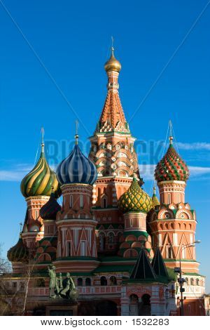 The Famous Head Of St. Basil'S Cathedral On Red Square, Moscow, Russia